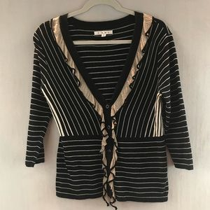 CAbi The Flirt Cardigan #276 Striped Ruffled Top